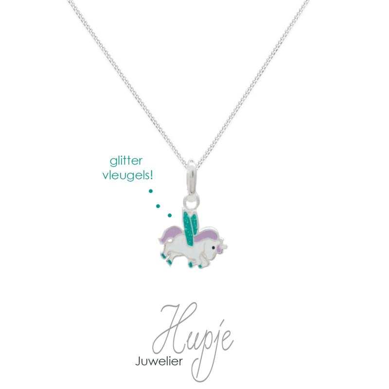 zilveren kinderketting eenhoorn paars blauwe glitter vleugels (premium)