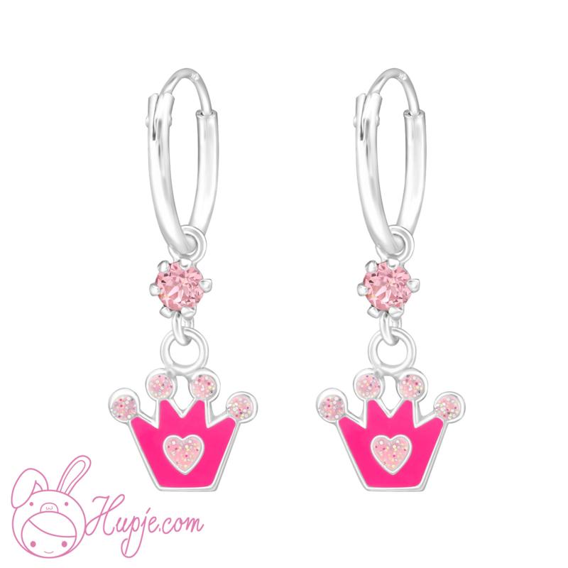 zilveren kinderoorbellen roze kroontjes + Swarovski® kristallen