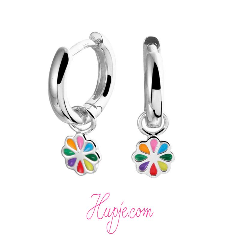 zilveren creolen regenboog bloem
