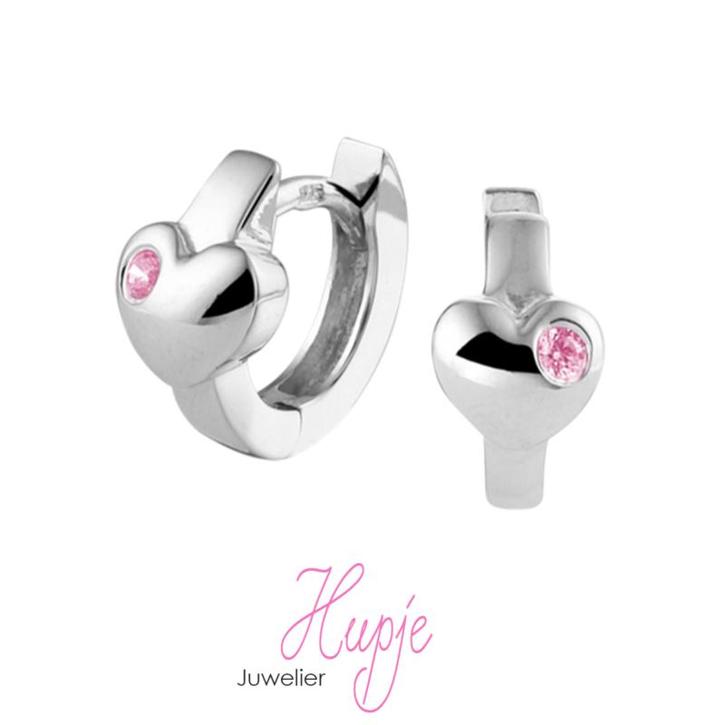 gerhodineerd zilveren creolen hartje roze Zirkonia
