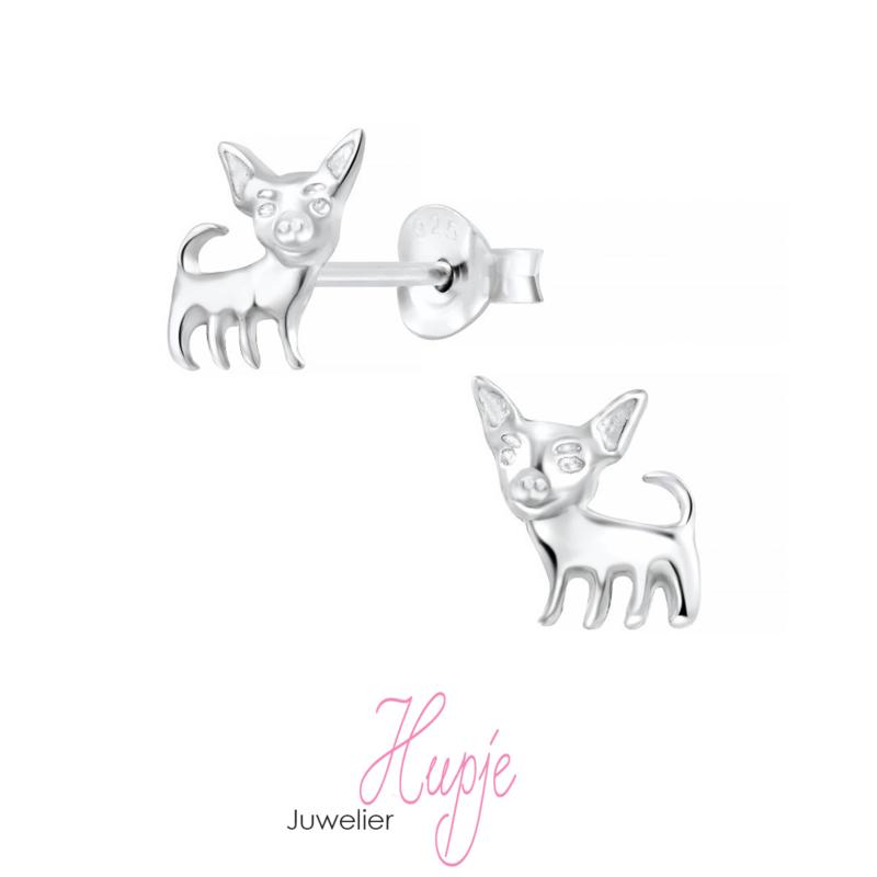 zilveren oorbellen chihuahua
