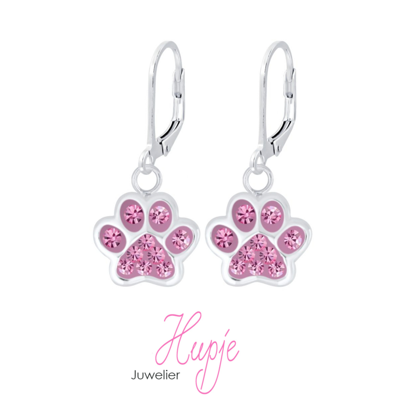 zilveren kinderoorhangers hondenpootjes roze kristallen brisure