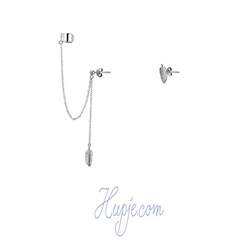 zilveren oorbellen veertje kettinkje oorklem