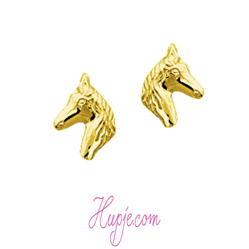 14 karaat gouden kinderoorbellen paard
