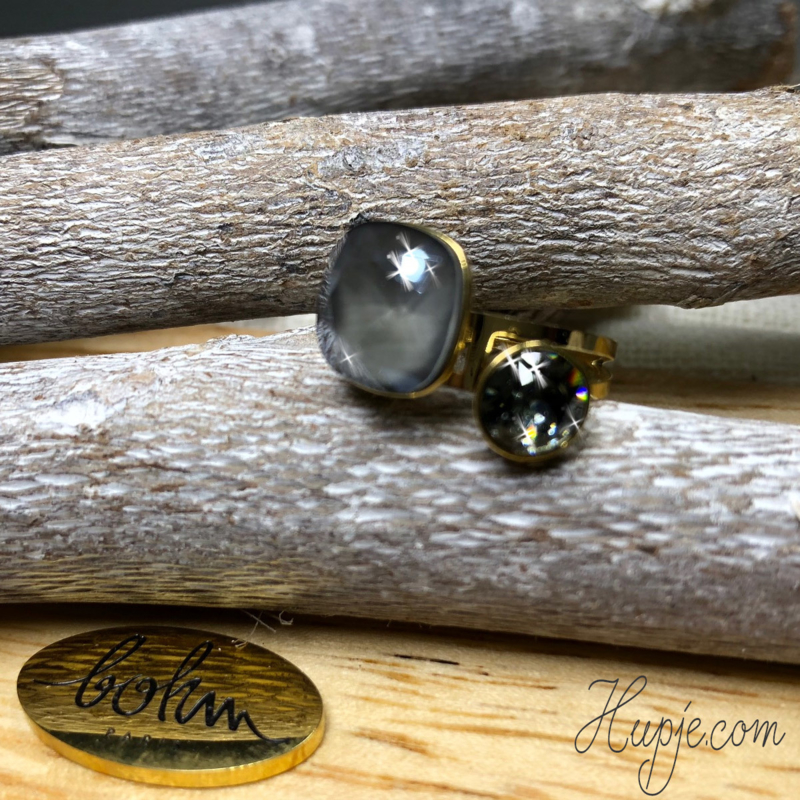 BOHM PARIS black diamond & grey opal Swarovski