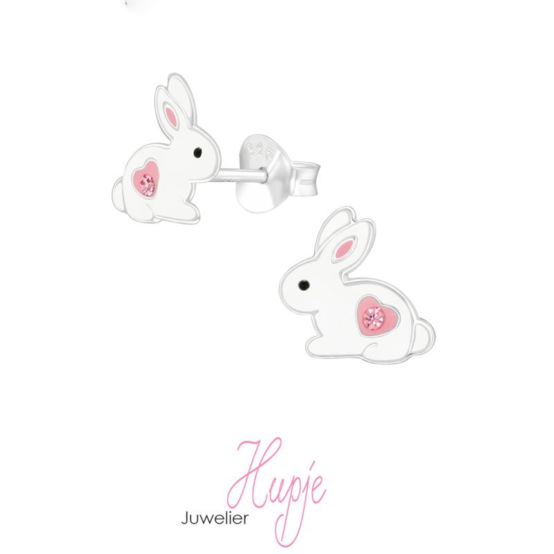 zilveren kinderoorbellen konijn roze hartje kristal