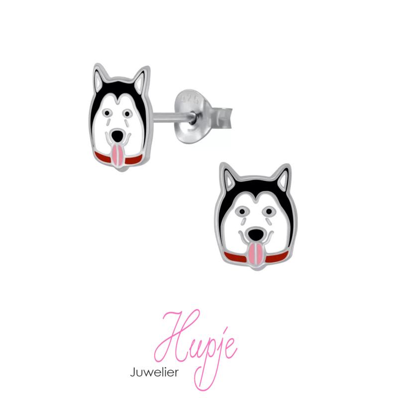 zilveren kinderoorbellen Husky hond