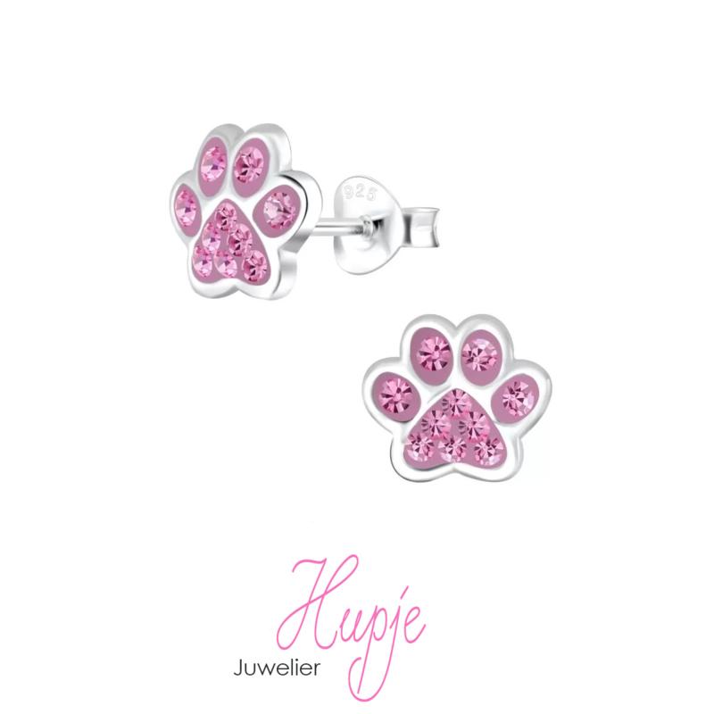zilveren kinderoorbellen hondenpootjes roze kristallen