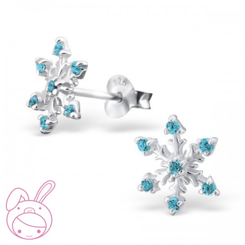 Silver children's earrings Frozen Blue Crystals