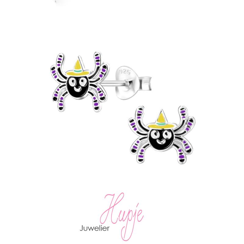 zilveren kinderoorbellen Halloween spin