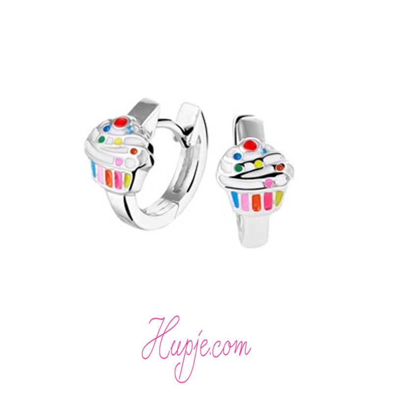 zilveren creolen cupcake