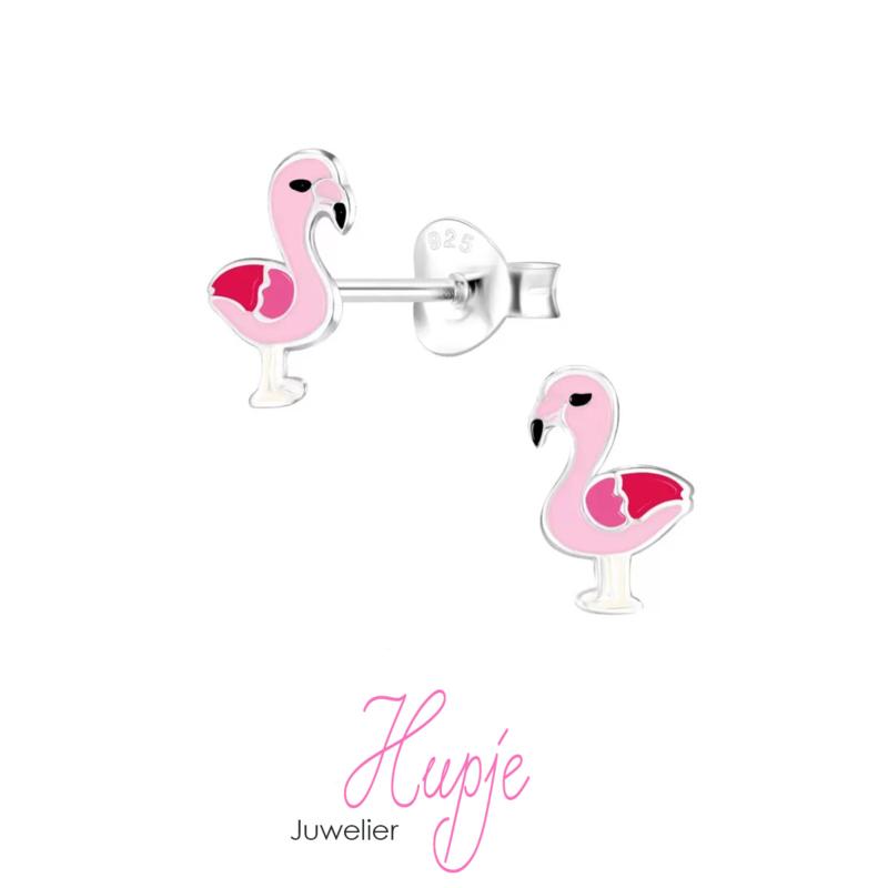zilveren kinderoorbellen roze flamingo