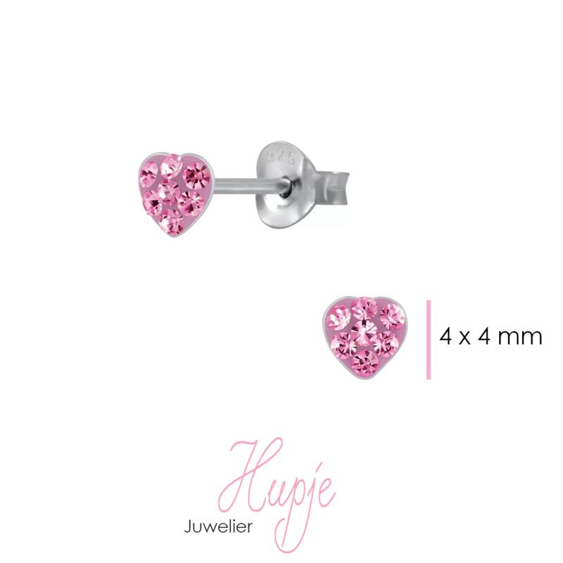 zilveren kinderoorknopjes hartje roze kristallen 4 mm