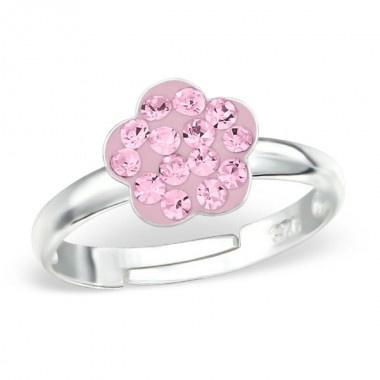 zilveren kinderring roze kristal