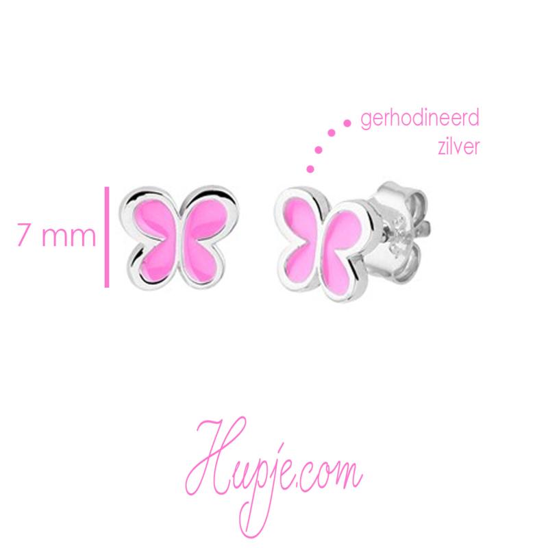 gerhodineerd zilveren kinderoorbellen vlinder roze