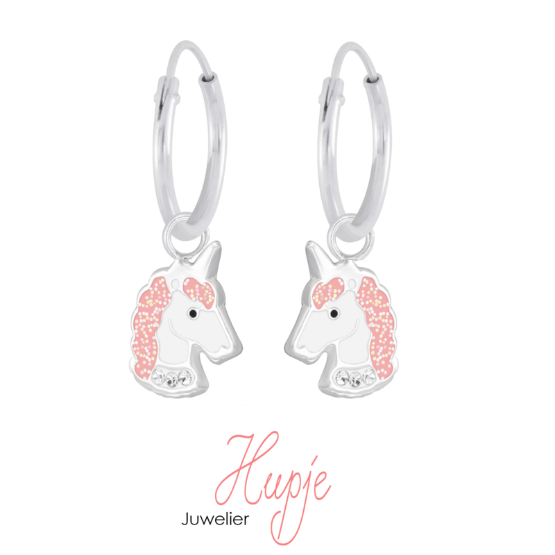 zilveren kinderoorbellen creolen sparkling unicorn (premium)