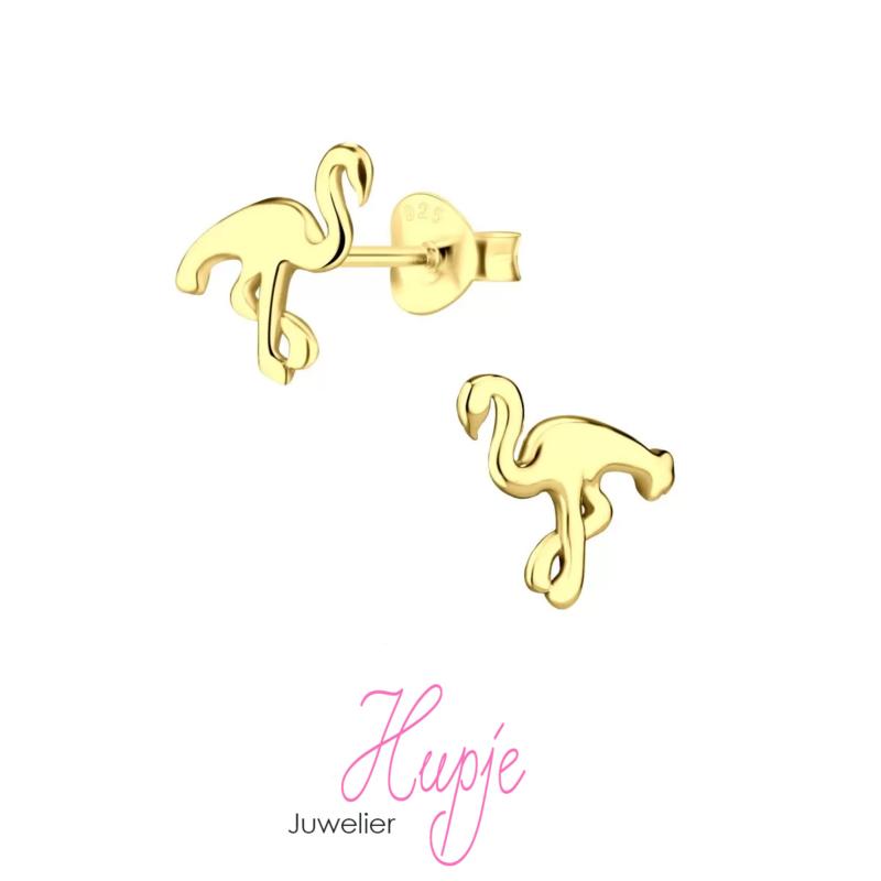 flamingo oorknopjes goud