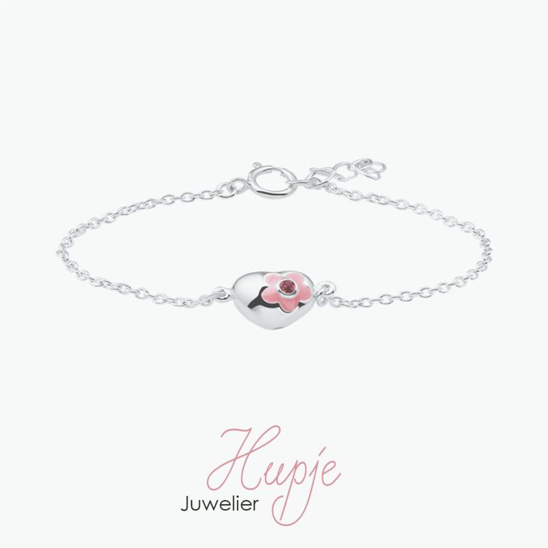 zilveren kinderarmband hartje bloem roze + Zirkonia (13+2 cm)