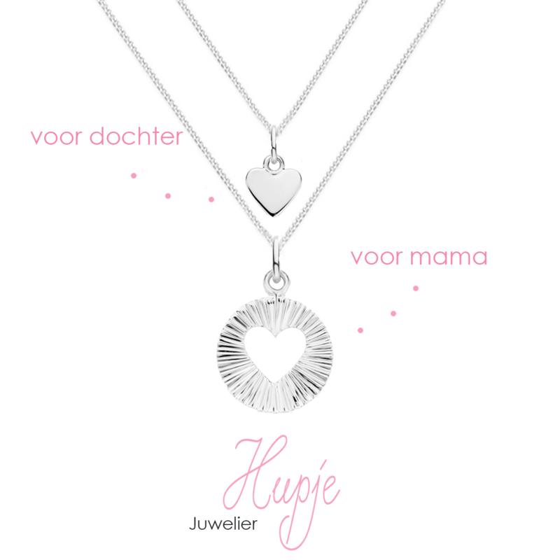 zilveren moeder-dochter set LOVE (set van 2 kettinkjes)