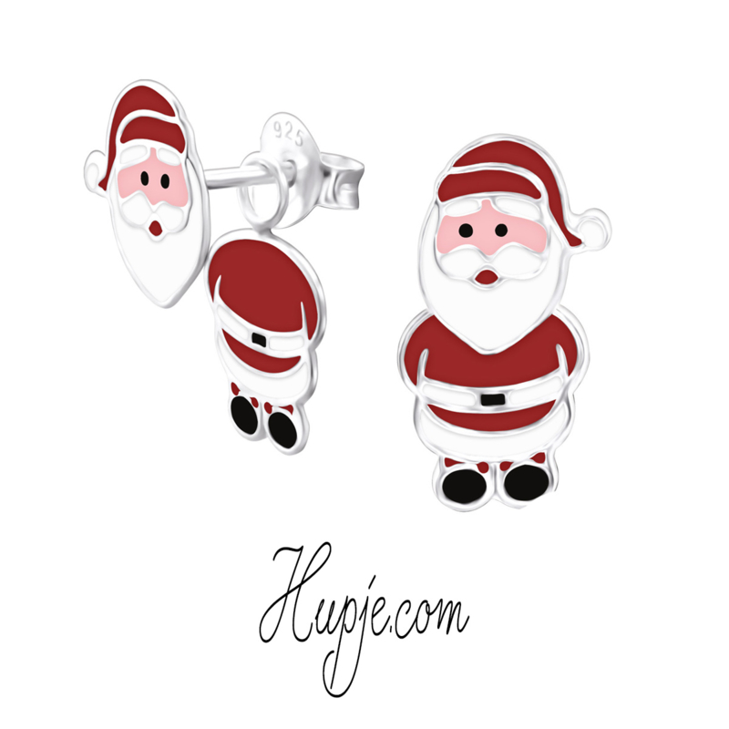 zilveren oorbellen kerstman hanger