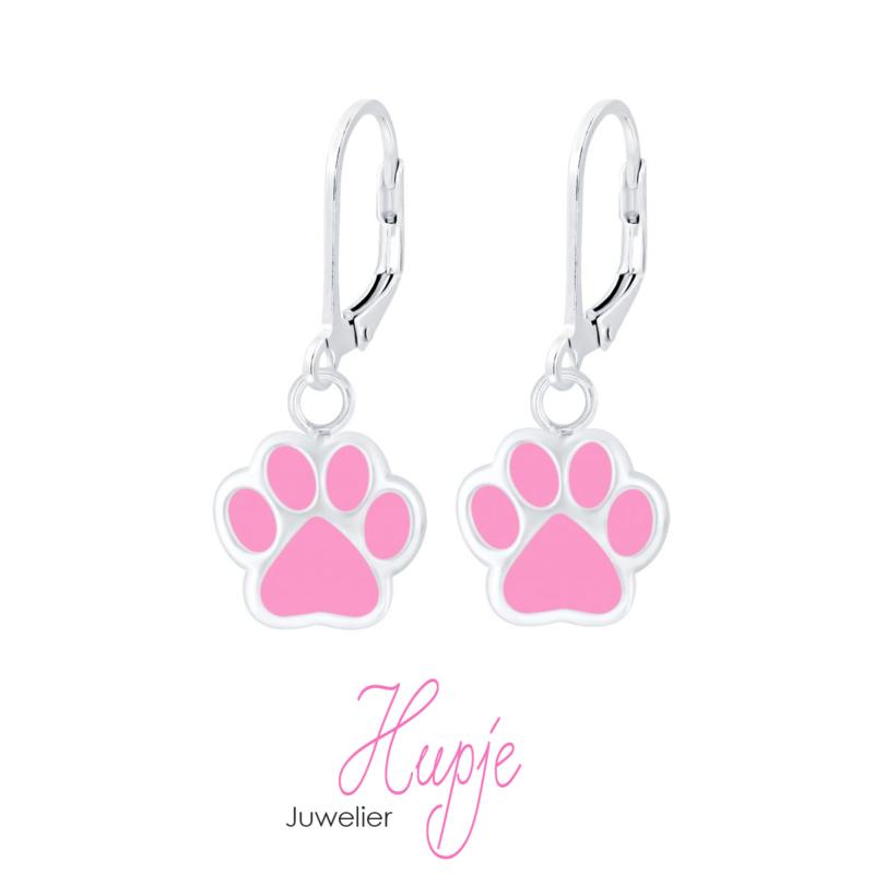 zilveren kinderoorhangers hondenpootjes roze brisure