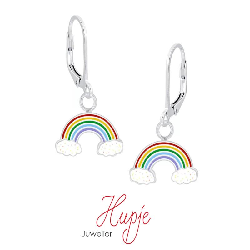 zilveren oorhangers brisure regenboog glitterwolk (premium)