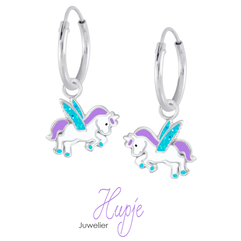 zilveren kinderoorbellen eenhoorn paars blauwe glitter vleugels Premium