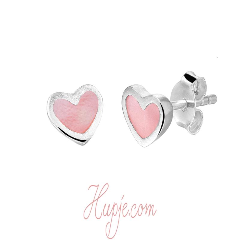 zilveren kinderoorbellen hartje roze parelmoer