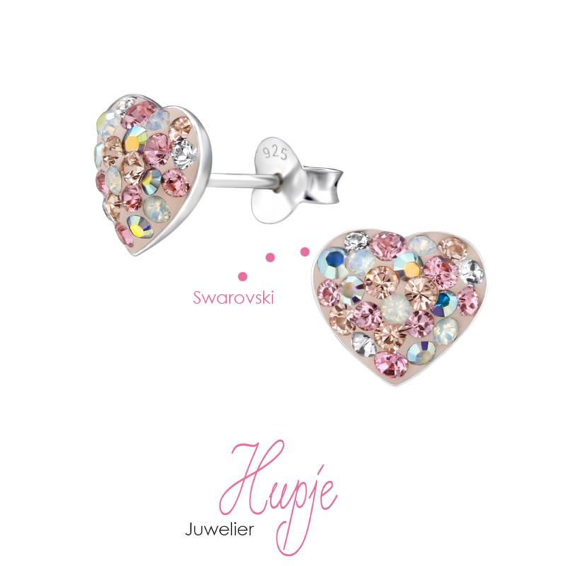 Silberne Ohrringe Herzen Swarovski Kristalle
