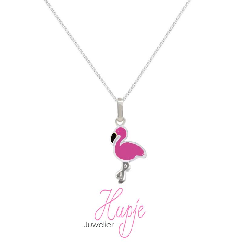 zilveren kinderketting roze flamingo (premium)