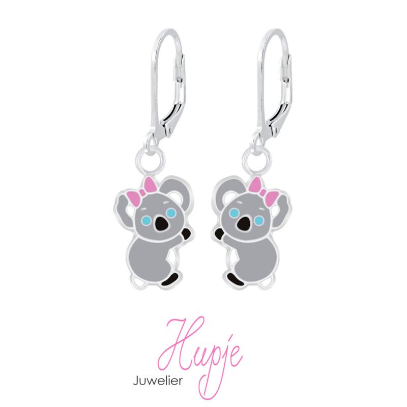 zilveren oorhangers koala brisure sluiting