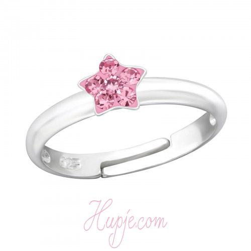 zilveren kinderring ster roze kristallen