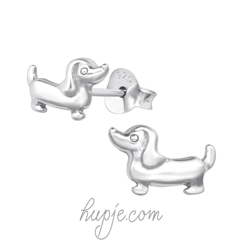 zilveren oorbellen teckel