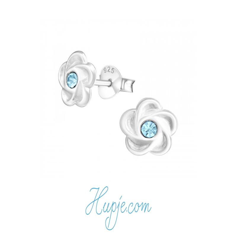 zilveren oorbellen bloem blauwe kristal