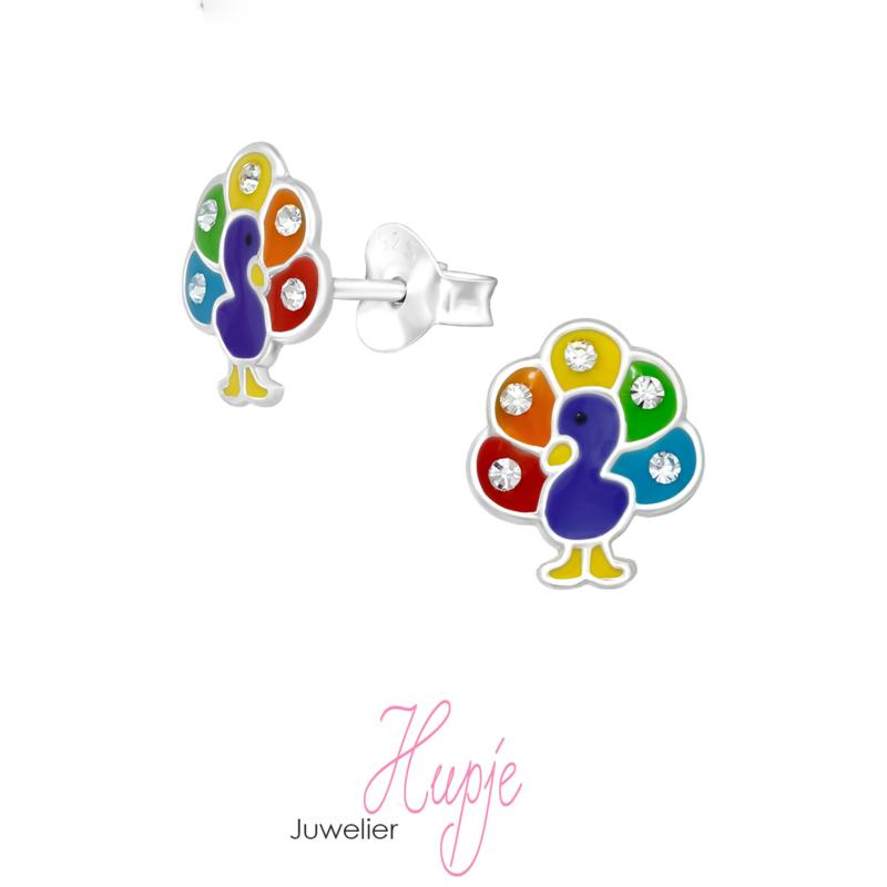 zilveren kinderoorbellen pauw