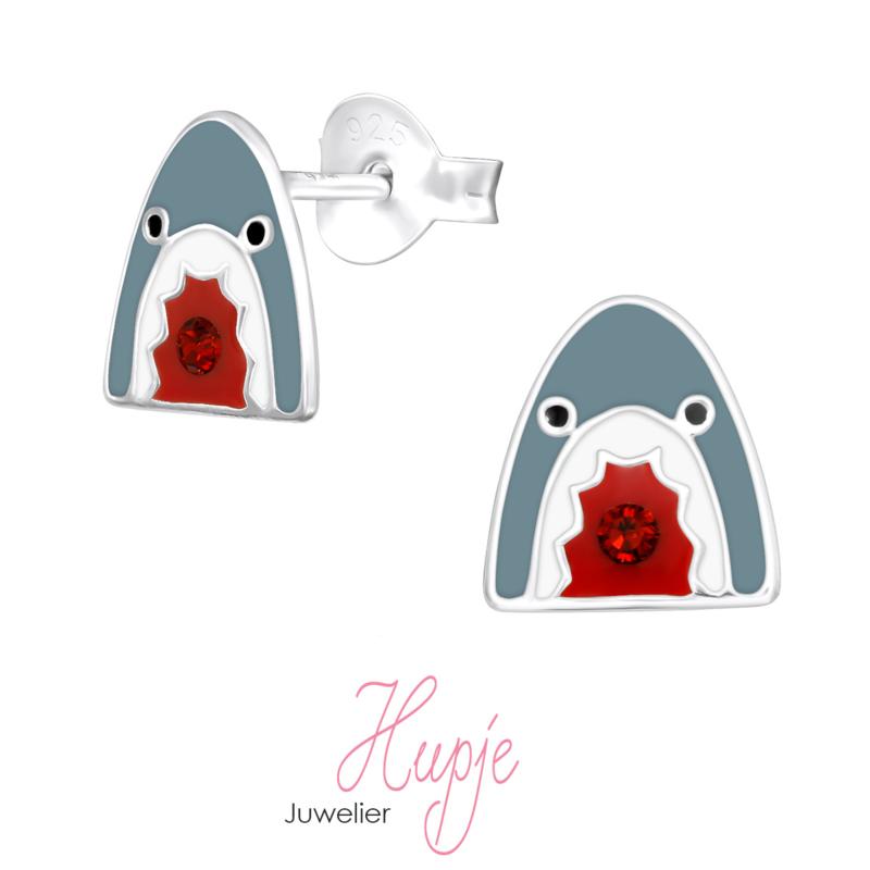 zilveren kinderoorbellen haai