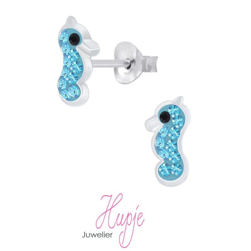 zilveren kinderoorbellen zeepaardje blauwe kristallen