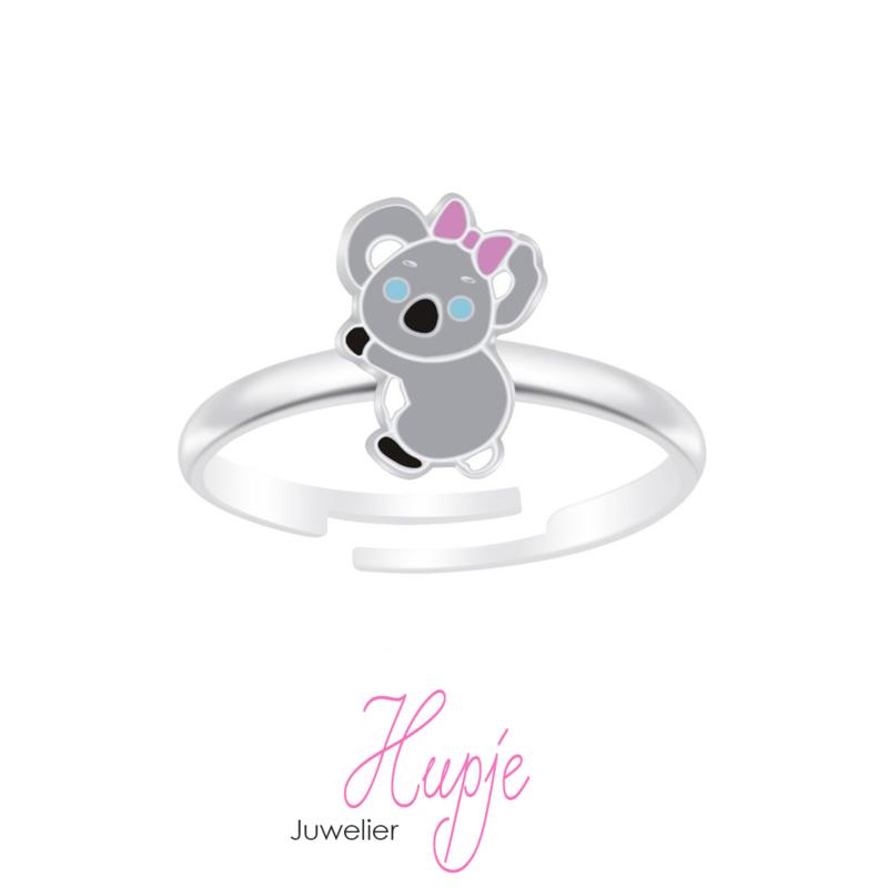 zilveren verstelbare kinder ring koala roze strikje