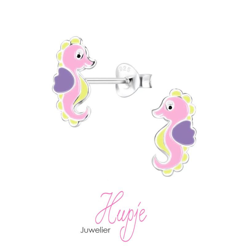 zilveren kinderoorbellen zeepaardje roze lila geel
