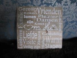 Gezellig Vrienden. tekstbord op steigerhout