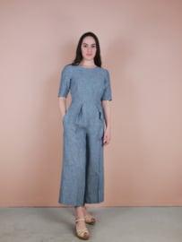 Sarah broekpak - blauw linnen
