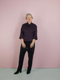 Betsy top 3/4 mouw -  blauw - bordeaux streep