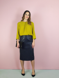 Sofia rok - blauw imitatie leer