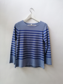 Bretonse truitje / T-shirt (licht blauw - koningsblauwe streep)