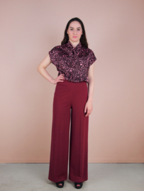 Betsy top bordeaux flower print