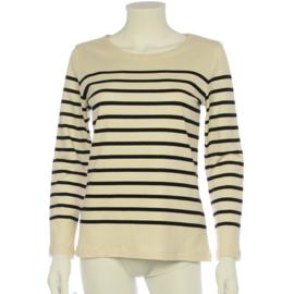 Bretonse truitje / T-shirt (wit - lichtblauwe streep)