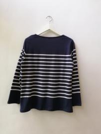 Bretonse truitje / T-shirt (donkerblauw - witte streep)
