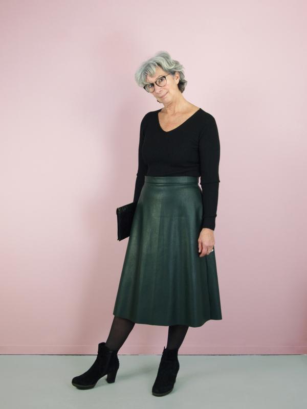 Audrey rok - groen imitatie leer