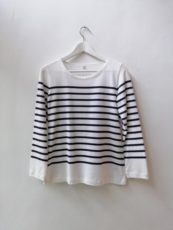 Bretonse truitje / T-shirt (wit - donkerblauwe streep)