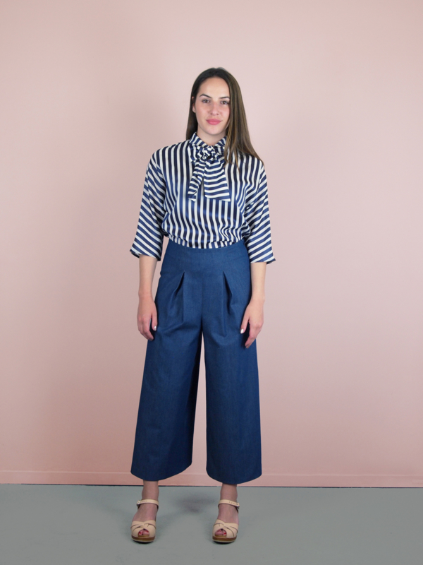 Betsy Top stripe white blue